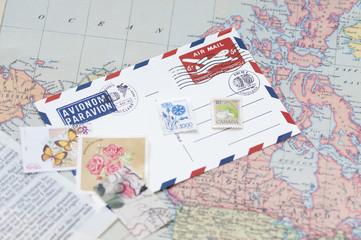 エアメール 切手 スタンプ 世界地図