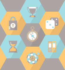 Flat business icons in grey hexagons for mobile and web