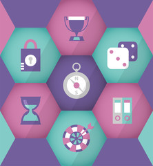 Flat business icons in violet hexagons for mobile and web