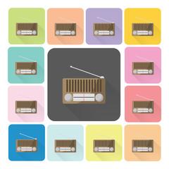 Radio Icon color set vector illustration