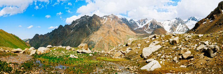 Panorama view on Tien shan peaks and mountains near Almaty.