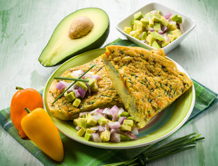 omelet with avocado capsicum and onions