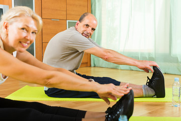 Senior couple doing exercises indoor