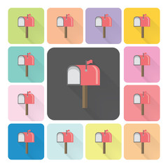 Mailbox Icon color set vector illustration
