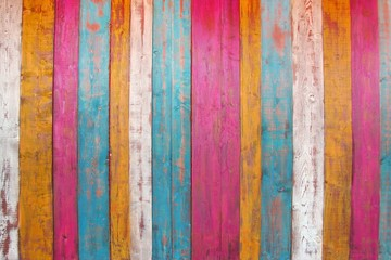 Colorful Wooden Plank Panel