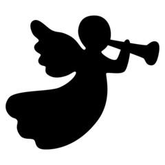 Abstrakter, weihnachtlicher Deko-Engel mit Fanfare, freigestellt