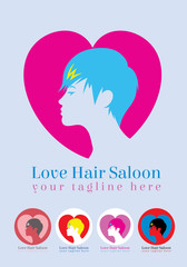 Love hair saloon, art vector logo design