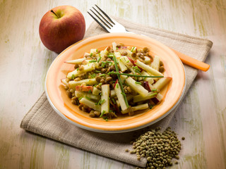 lentils salad with slice apple