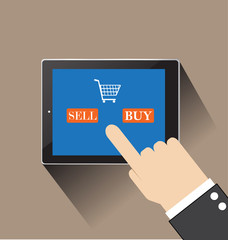 hand of businessman touching sell and  buy on screen table compu
