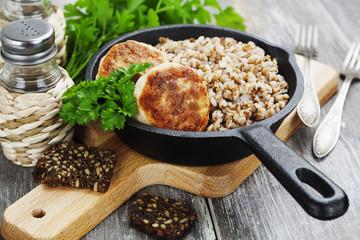Chicken burgers and buckwheat