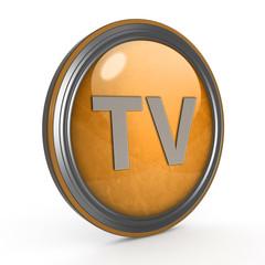 TV circular icon on white background