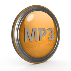 MP3 circular icon on white background