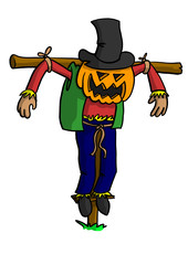 Scarecrow with Pumpkin Head
