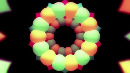 Bubbly rotating multicolored rings