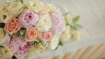 Exquisite bouquet of delicate pink peonies and roses