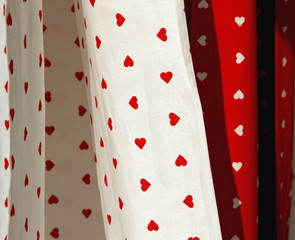 Curtains and tablecloths with heart shape