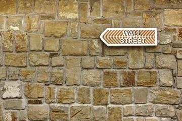 Wall Street  Arrow on Old Stone Wall