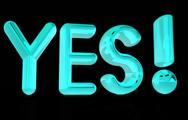 "3d text "" Yes!"""