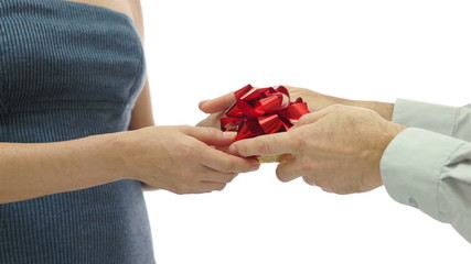 Man Gives Woman Gift on Knees