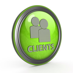 Client circular icon on white background