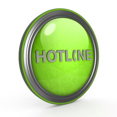 Hotline circular icon on white background