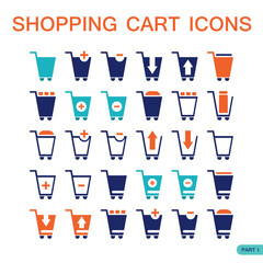 Set of shopping cart icons for web. Shop,buy,sell products