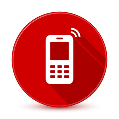 Red mobile phone icon with long shadow