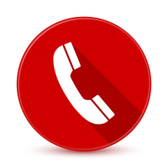 Red phone icon with long shadow