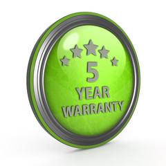 Five year warranty circular icon on white background