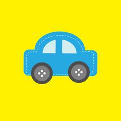 Blue car applique  dash line and wheel buttons Flat