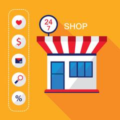 24 7 Shop Front. Shopping business concept