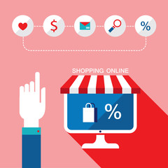 E-commerce concept. Online shopping icons for web