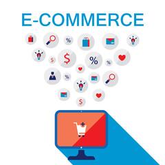 E-commerce concept. Online shopping.Vector illustration