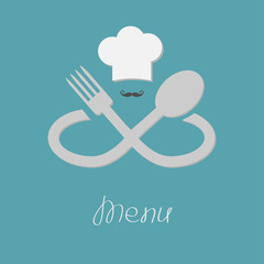 Big fork, spoon infinity sign, chef hat and mustache. Menu Flat