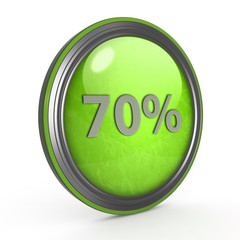 Seventy percent circular icon on white background