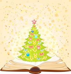 Background with open book and Christmas tree
