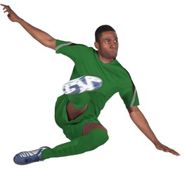Football player in green jumping