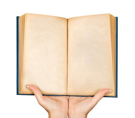 two hands holding an open blank book on an isolated white backgr