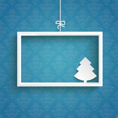 Blue Background Ornaments White Frame Christmas Tree