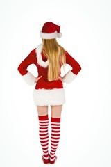 Festive blonde standing rear view