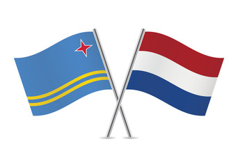 Netherlands and Aruba flags. Vector illustration.