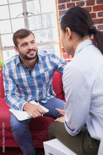 canvas print picture Therapist advising his listening patient