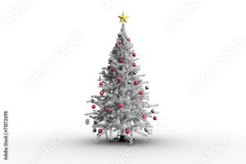 canvas print picture Christmas tree with baubles and star