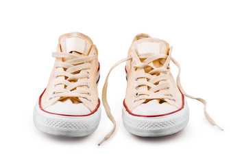 vintage  shoes on white background