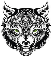 Totem animal .Wolf tattoo