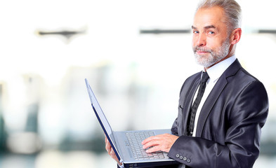 Businessman using his laptopt in the office