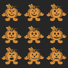 Halloween Pumpkin doll set
