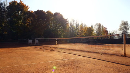 Tennis court before the game.Balls on the tennis court.