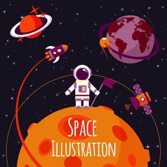 Space flat illustration