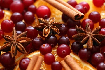 Cinnamon sticks, star anise, orange slices and cranberries